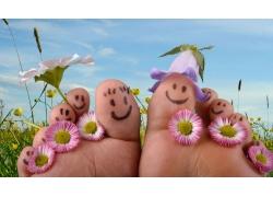 脚丫表情与花朵