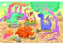 火山和树木以及可爱的恐龙卡通画