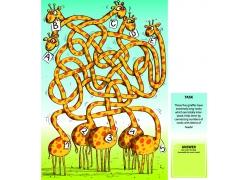 卡通长颈鹿迷宫插画图片