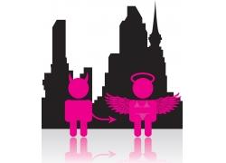 天使魔鬼与城市剪影