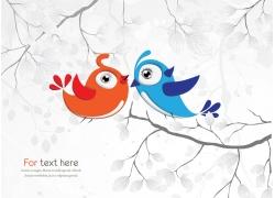 树枝上的卡通小鸟图片