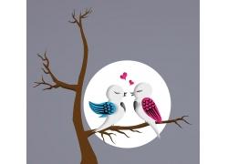 月亮与卡通小鸟图片