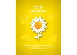 黄色背景上的向日葵