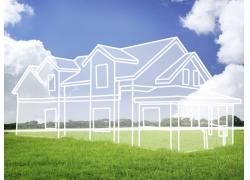草地上的手绘别墅图片
