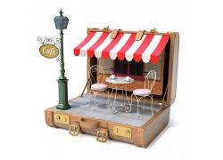 行李箱中的咖啡馆