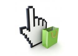 手掌模型与购物袋