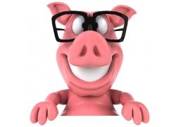 3D卡通小猪与广告牌