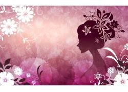 花纹与女人剪影