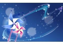 纸风车与星光花纹素材