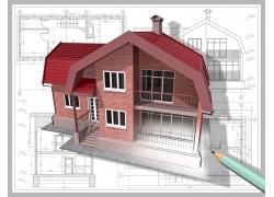 别墅建筑图纸与3D效果图