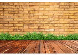 砖墙与木板背景