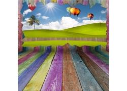 草地热气球舞台木板背景
