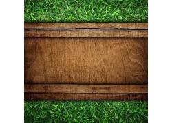 木板背景与草地