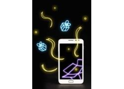 触屏手机和手绘礼物盒彩带图片