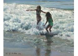 海边玩耍的女孩油画图片