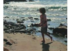 沙滩上奔跑的小女孩油画图片