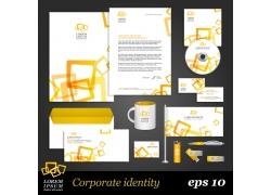 黄色科技方块vi设计模板