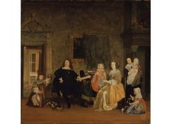 家庭图片油画