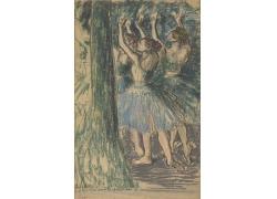 树边跳舞的女孩油画图片