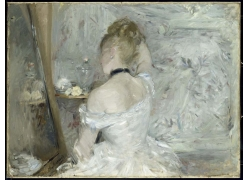 梳头的女孩油画图片