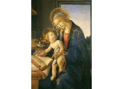 抱着孩子看书的妇女油画图片