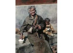 藏族老人女孩油画图片