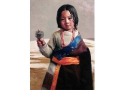 藏族女孩油画肖像图片