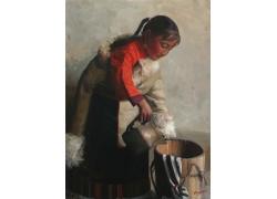 倒水的藏族女孩油画肖像图片