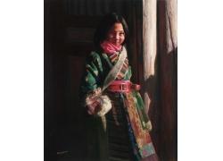 可爱藏族女孩油画肖像图片