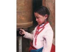 西藏女孩油画肖像写生图片