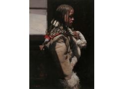 西藏辫子女孩油画肖像图片