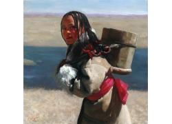 背水的藏族女孩油画写生图片