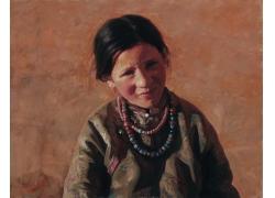 藏族女生肖像画图片