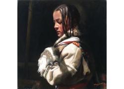 辫子藏族女孩肖像画图片