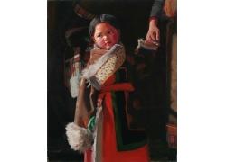 藏族女孩油画写生图片