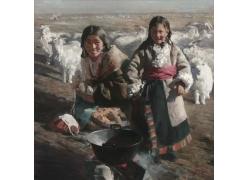西藏美女女孩油画写生图片