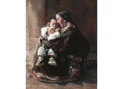 抱着孩子的西藏美女油画图片
