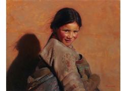 少数民族女孩肖像油画图片