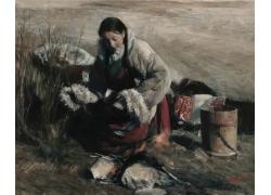 油画藏族姑娘写生图片