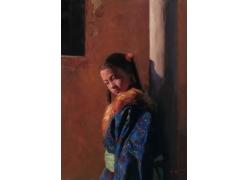 西藏女孩油画肖像图片