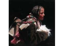 背水的藏族女孩油画图片