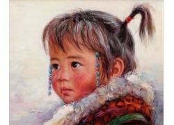 藏族女孩肖像画图片
