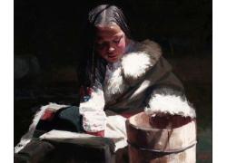 舀水的藏族女孩油画肖像图片