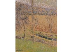 秋天的树林油画