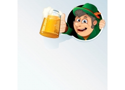 端着啤酒的卡通人物插画图片