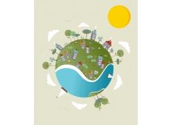 卡通地球环保插画