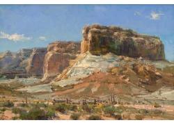高原荒漠风景油画