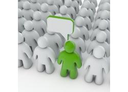 浅灰色立体人群前的绿色小人