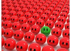 红色球体中的绿色球