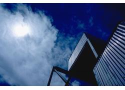 蓝天白云与建筑风景